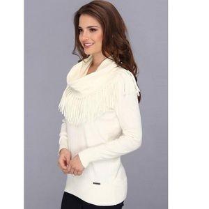 MICHAEL Michael Kors Fringe Cowl Creme  Sweater